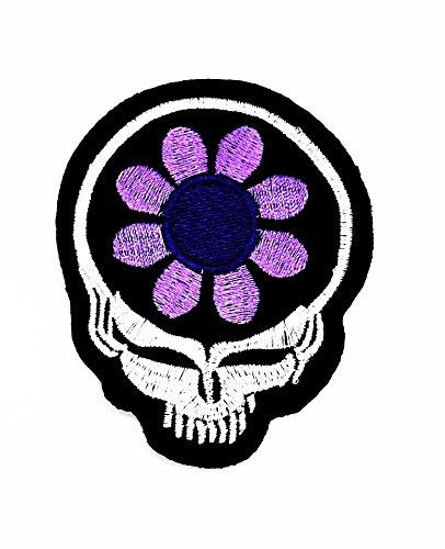Blume Sugar Skull-Biker-Patch-Hand bestickt und Bügelbild Symbol Jacke -