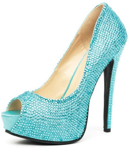 amour 5.5 Zoll Satin Strass Besetztem Schuhe, Größe 11, turquoise (Elf Kostüme Erwachsene Uk)