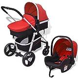 VidaXL 3-in-1 Kinderwagen Aluminium rot und schwarz - Cochecito