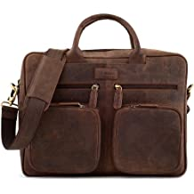 LEABAGS Dallas genuine buffalo leather briefcase in vintage style - Nutmeg