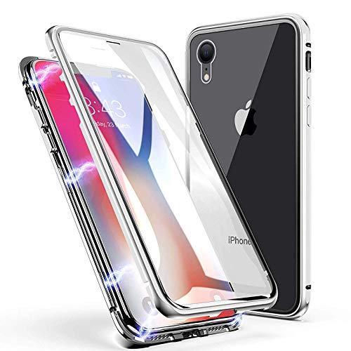 LINCIVIUS  Coque Integrale Compatible avec Apple iPhone XR, Coque de Protection 2 en 1 Aluminium et Verre Trempe Avant Et Arrière Contour Bumper Rigide pour Apple iPhone XR, Gris