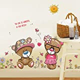 Xqi wangpu Cartoon Bears Wall Sticker per Bambini Camere del Bambino Home Decor Cute Bear Coppia Nursery Stickers murali Poster per Bambini Baby House Poster 60X110cm