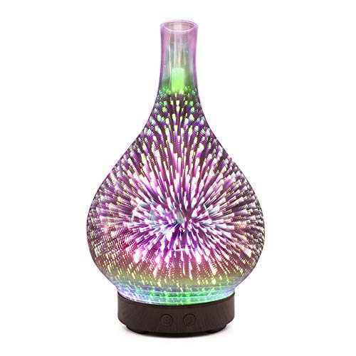 Huhu833 Aroma Diffuser, 100ml Glas Nachtlichter Luftbefeuchter Ultraschall Vernebler 7 Farbwechsel LED Ultra Leise Ätherisches Öle Diffusor Humidifier für SPA, Yoga, Schlafzimmer usw (A)