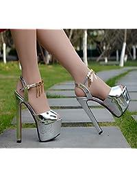 RUGAI-UE Super Heel Sandalen sexy Nachtclub Lack 16 cm Sandalen