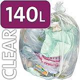 Alina, sacco per rifiuti da 140 L, in polietilene, trasparente, resistente, per bidone della spazzatura con ruote, sacco compattatore di rifiuti ENSA, grande sacco in plastica per l'immondizia, 100 sacks