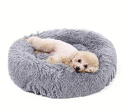 Luxuriöses zotteliges Hundebett aus Kunstfell in Donut-Form, orthopädische Entlastung, selbstwärmender gemütlicher Schlaf, Grau 66 x 66 cm -
