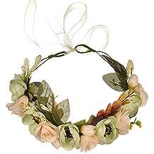 OKBO Diadema de flor guirnalda Floral corona guirnalda para fiesta de boda Featival, Venda de Flor Boho Corona de Cabeza de Pelo Guirnalda de Novias de Boda Decoración de Pelo de Mujer NiñaBeige