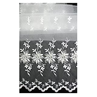 Altotux White 100% Organza Both Sides Embroidered Lace Fabric 52-53 by Altotux