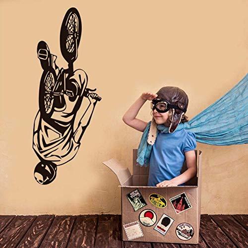 Vélo Stunt Performer Wall Decal Pour Enfants Chambre Mur Mural Décoration de La Maison Mur Vinyle Art Chambre Sticker Mural 56X114CM