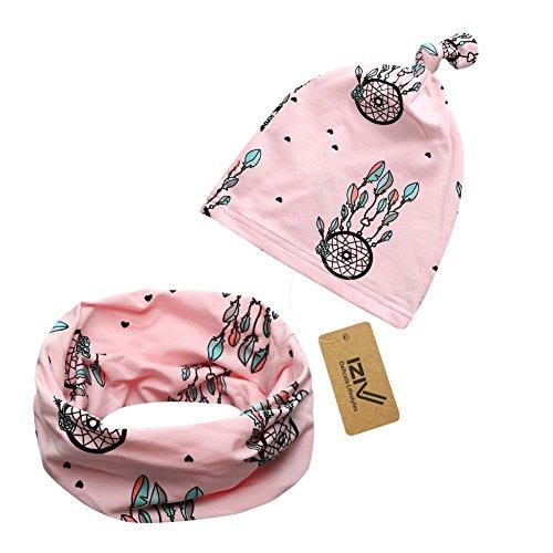 iZiv Babybekleidung Schals Niedliche Baby Kleinkind Kinder Cartoon drucken Hut Kappe Mütze + Schal Warp Set für 0-2 Jahre (Rosa)