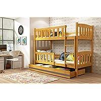 Preisvergleich für Interbeds Etagenbett QUBA 200x90 mit Lattenroste, Matratzen und Schublade in WEIβ, GRAU, Erle und Kiefer (Erle + grau)