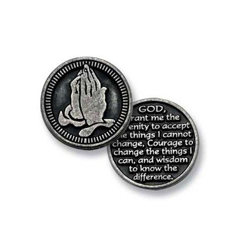 Sechs (6) Zinn Pocket Spielsteine Serenity Gebet-God Grant Me The Serenity to Accept.-2,5cm Metall Medaille-inspirierendes Geschenk-Andenken-Anonyme Alkoholiker-AA -