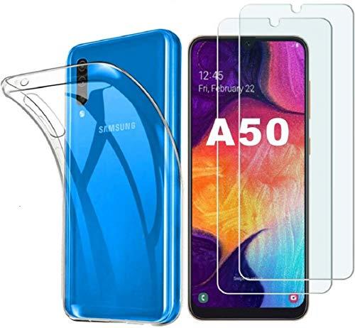 iLieber Samsung Galaxy A50 Hülle + Panzerglas,[1 Hülle + 2 Panzerglas] Schutzhülle Handyhülle Kratzfeste Soft TPU Bumper Case Cover,[2 Pack] 9H Panzerglas Hartglas Glas für Samsung Galaxy A50