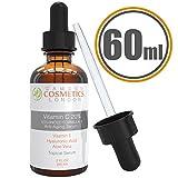 Camden Cosmetics - 2oz (60ml) Serum de vitamina C para la cara + ácido hialurónico, ayuda a incrementar la producción de colágeno y ayuda a disminuir las líneas de expresión, los puntos negros y las arrugas.