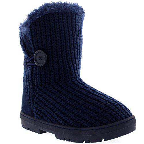 ... Damen Schuhe Single Knopf Fell Schnee Regen Stiefel Winter Fur Boots  Marine Gestrickt ...