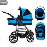 Bebebi | Modell London | 3 in 1 Kinderwagen Set | Luftreifen Piccadilly