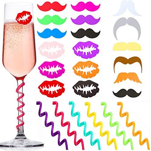 Blulu 24 Stücke Silikon Getränk Marker Weinglas Marker Wein Charms Weinglas Identifikator für Bar Party Family