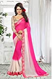 Ankit Fashions Lace Border Georgette Sari in Pink
