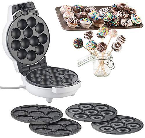 Rosenstein & Söhne Donutmaker: 3in1-Donut-, Cupcake- und Cakepop-Maker, antihaftbeschichtet, 600 Watt (Cake Maker)
