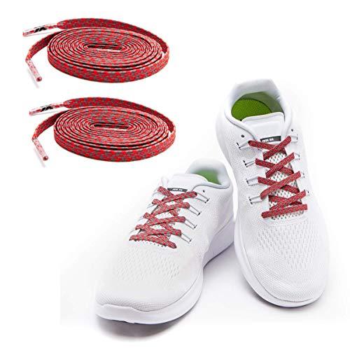 MAXXLACES Flache elastische Schnürsenkel mit einstellbarer Spannung in verschiedenen Farben Schuhbänder ohne Binden komfortable Schuhbinden einfach zu bedienen Past zu jedem Schuh (Reflective rot)