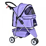 Purple Pet Stroller Cat Dog Cage 3 Wheels Stroller Travel Folding Carrier T13