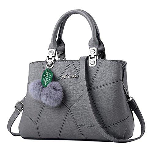 Baymate Frauen Umhängetasche Handtasche Satchel Messenger Tasche mit Pompon-Anhänger Dunkel Grau