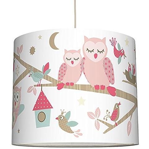 anna wand Lampenschirm FUNNY FOREST GIRLS – Schirm für Kinder / Baby Lampe mit Eulen, Vögeln und Eichhörnchen in Rosa-Taupe – Sanftes Licht für Tisch-, Steh- & Hängelampe im Kinderzimmer Mädchen & Junge