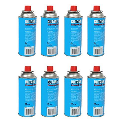 Allride Universal Butangaskartuschen Gaskartuschen für Campingkocher, 8 Stück je 227 g, Unkrautvernichter, Camping Butan Gas, Gaskocher, Gasherd