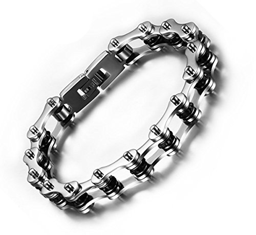 Fengteng Stainless Steel Black Rhinestones Men's Motorcycle Biker Bicycle Chain Polished Link Bracelet