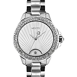 MEDOTA Gratia Women's Studded Automatic Water Resistant Analog Quartz Watch - Silver