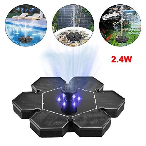 Bomba de Fuente de energía Solar de 2.4W con luz LED, Bomba de Fuente de Estanque Fuente de baño de Aves Fuente de energía Solar Equipo de Bomba Flotante de Agua con Bomba Sumergible para jardín
