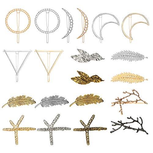 Mini Office Depot 20 Stücke Vintage Haarspangen Mond Geometrische Feder Haarspangen Metall Haar Pins für Frauen Mädchen
