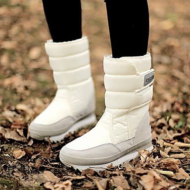 Stivali delle donne Inverno Mary Jane PU Cuoio casuale Wedge Heel Feather White