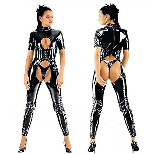 tsuit Offener Schritt Erotischer Kunstleder Overall,M (Nette Paare Kostüme Zu Machen)
