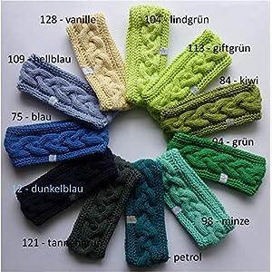 1 Stirnband Baumwolle mit Zopfmuster in blau, grün oder gelb Tönen erhältlich, auf Wunsch mit Fleece gefüttert