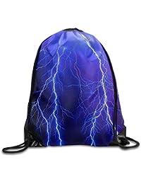 AlineAline Unisex Summer Lightning Boom Print Drawstring Backpack Rucksack Shoulder Bags Gym Bag Sport Bag