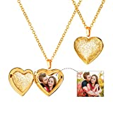 U7 Frauen Mädchen Halskette Vintage Blumen Muster Herz Anhänger zum Öffnen mit 50+5cm Kette Gelbgold überzogen Herz Medaillon Photo Bilder Amulett Geschenk für Valentinstag Weihnachten, Gold