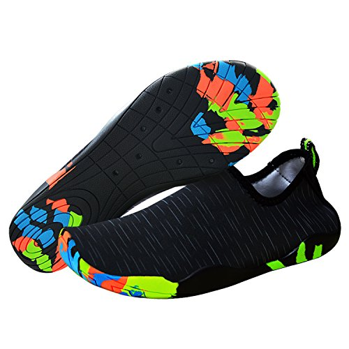 U-Goforst Damen Herren Schwimmschuhe Kinder Surfschuhe Barfuß Schuhe Wasserschuhe Strandschuhe Aquaschuhe Rutschfeste Neoprenschuhe Badeschuhe Schnell Trocknend Schuhe (37 EU, Wellen Schwarz)