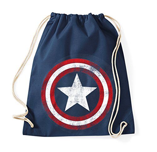 TRVPPY Baumwoll Turnbeutel/Modell Vintage Captain America/Beutel Rucksack Jutebeutel Sportbeutel Tasche Fashion Hipster/Farbe Navyblau