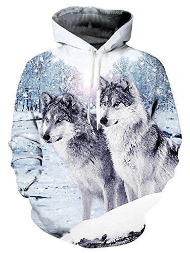Idgretim Printed Sweatshirt Hoodies Damen Damen Mode Casual Crop - Snow Wolf, M Diamant Pullover