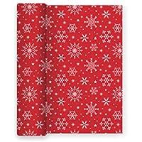 Mantel de Papel con Decorado de Copos de Nieve Ideal para Las cenas de Lujo de Navidad, Fiesta de Fin de año o Fiestas Elegantes - Color Rojo - Colección Especial - 1,2 x 5 m