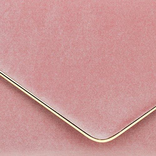 CASPAR TA375 Damen elegante Samt Envelope Clutch Tasche / Abendtasche mit langer Kette Rosa