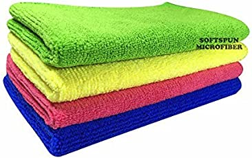 SOFTSPUN Microfiber Ultra Absorbent Hand & Face Towel Wipes, 20X30 CM (Set of 4)(Multicolor)
