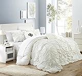 Chic Home CS1440-AN Halpert Floral Pinch Pleat Ruffled Designer Embellished Queen Comforter Set, 6-Piece, White