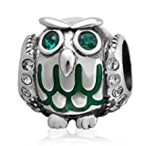Soulbead Halloween Cadeau Hibou Charm avec pierre porte-bonheur mai Argent sterling 925Crystal Eye Perle en forme d'animal pour Halloween Style européen Bracelet