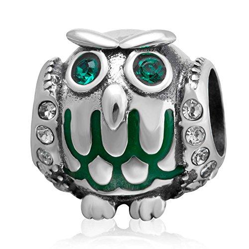Soulbead regalo di halloween con charm a forma di gufo con può birthstone crystal eye 925sterling silver animali di perle per halloween bracciale in stile europeo
