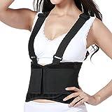 Faja para la espalda con tirantes, apoyo lumbar para el dolor en la parte inferior de la espalda, cinturón de culturismo / halterofilia, entrenamiento, seguridad en el trabajo y postura - Marca NEOtech Care ( TM ) - Color Negro - Talla XL