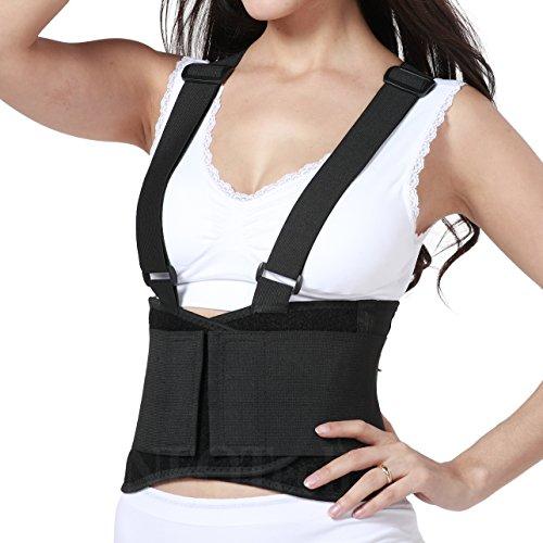 Faja para la espalda con tirantes, apoyo lumbar, cinturón de culturismo/halterofilia, entrenamiento - Marca Neotech Care (Talla M)