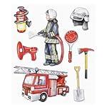 Stickerkoenig Wall Tattoo Childrens 3D Wall Sticker XXL Fire Engine and Fireman Set