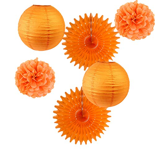 6er Set Papier Laternen Orange Pom Poms Rosetten Party Deko (Orange) (Poms Pom Orange)